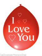 "10 x 11"" Red Balloons Printed ""I Love You"""